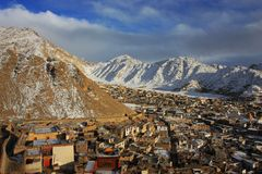 Paysage de coucher du soleil de Ladakh Photographie stock libre de droits