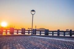 Paysage de coucher du soleil de pilier d'îlot de Gulangyu Image libre de droits