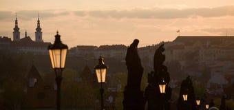 Paysage de coucher du soleil de Prague image stock