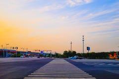 Paysage de coucher du soleil de ville de Tianjin, Chine Photos libres de droits