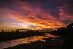 Paysage de coucher du soleil en parc national de Kruger, Afrique du Sud images libres de droits