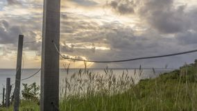 Paysage de coucher du soleil, mer d'île de Fernando de Noronha photos stock