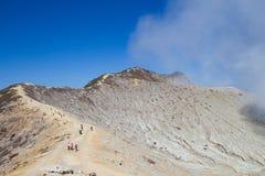 Paysage de cratère d'Ijen du cratère Java-Orientale, Indonésie Images libres de droits