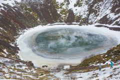 Paysage de cratère de Kerio congelé Photos stock