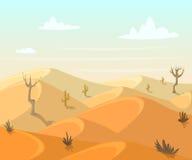 Paysage de désert avec des cactus et des arbres Photo libre de droits