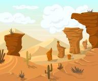 Paysage de désert avec des cactus et des montagnes illustration stock