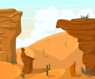 Paysage de désert avec des cactus et des montagnes Photos stock
