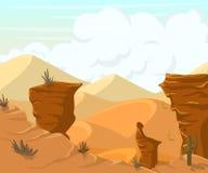 Paysage de désert avec des cactus et des montagnes Image libre de droits