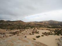 Paysage de désert avec des voitures Photo stock
