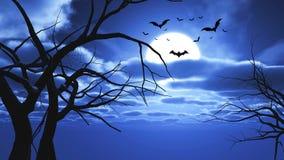 paysage de 3D Halloween avec des battes et des silhouettes d'arbre illustration stock