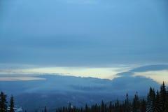 Paysage de forêt d'hiver Montagne dans la fumée carpathienne, Ukraine, l'Europe Photographie stock