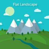 Paysage de forêt et de montagnes illustration stock