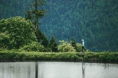 Paysage de forêt de montagne avec la femme marchant le long du lac Images stock