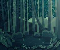 Paysage de forêt de nuit avec des montagnes, des usines et des étoiles dans le ciel Image stock