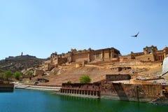Paysage de fort d'Amer, ville d'Amer, Inde de Jaipur Ràjasthàn de périphérie Images libres de droits