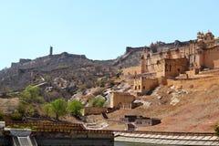 Paysage de fort d'Amer, ville d'Amer, Inde de Jaipur Ràjasthàn de périphérie Image libre de droits