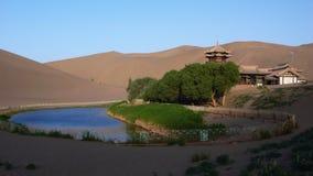 Paysage de Gansu Dunhuang Crescent Lake Images stock