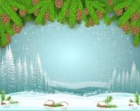 Paysage de gel d'hiver avec la branche d'arbre de sapin sur le dessus et la neige avec le cône vers le bas Fond de Noël illustration libre de droits