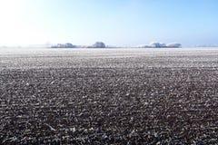Paysage de gel de givre au champ de Havelland Brandebourg - Allemagne Photographie stock