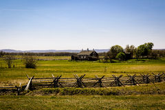 Paysage de Gettysburg avec la maison de ferme Photo libre de droits