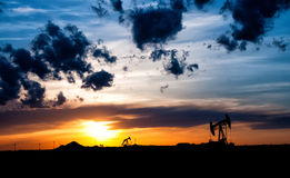 Paysage de gisement de pétrole Images stock