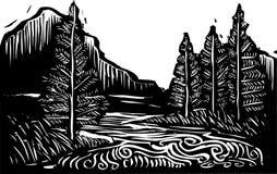 Paysage de gravure sur bois illustration de vecteur