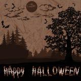 Paysage de Halloween avec l'inscription illustration de vecteur