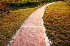 Paysage de jardin de coucher du soleil de chemin Images stock