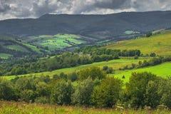 Paysage de jour d'été avec le champ, le ciel nuageux et le village Photo stock