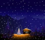 Paysage de Joyeux Noël et d'hiver Photographie stock libre de droits