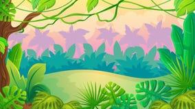 Paysage de jungle de coucher du soleil d'amusement illustration libre de droits