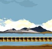 Paysage de l'eau de barrage illustration stock