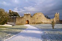 Paysage de l'hiver au château Photographie stock