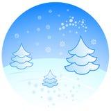 Paysage de l'hiver avec des sapins illustration libre de droits