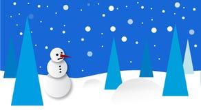 Paysage de l'hiver avec le bonhomme de neige illustration de vecteur