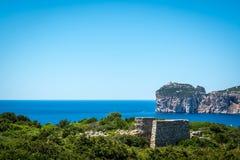 Paysage de la côte du capo Caccia, en Sardaigne photographie stock