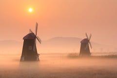 Paysage de la Corée, moulin à vent en bois, parc de marécage d'écologie de sorae Photographie stock