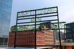 Paysage de la ligne élevée Parc public urbain sur une ligne de rail historique de fret, New York City, Manhattan Image stock