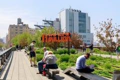 Paysage de la ligne élevée Parc public urbain sur une ligne de rail historique de fret, New York City, Manhattan Images libres de droits