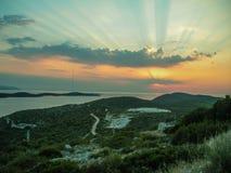 Paysage de la mer avec un sunarise de colorfull Image libre de droits