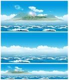 Paysage de la mer ouverte avec l'île Photographie stock