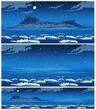 Paysage de la mer ouverte avec l'île la nuit Photographie stock