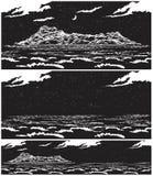 Paysage de la mer ouverte avec l'île la nuit Image stock