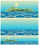 Paysage de la mer ouverte avec le rétro style d'île Photographie stock libre de droits