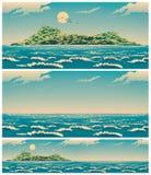 Paysage de la mer ouverte avec la rétro affiche d'île Image libre de droits