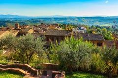 Paysage de la Toscane avec des vignobles, arbres de cyprès photographie stock