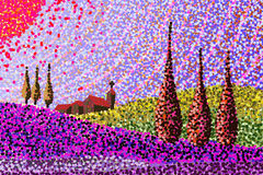 Paysage de la Toscane - croquis fabriqué à la main Image stock