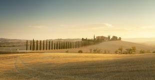 Paysage de la Toscane de coucher du soleil images libres de droits