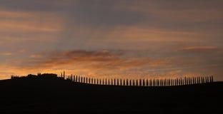 Paysage de la Toscane de lever de soleil photographie stock libre de droits
