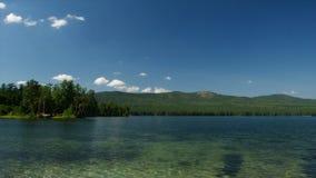 Paysage de lac de forêt de montagne de nature d'été belle nature verte, arbres de floraison à côté d'un lac naturel vert Photo libre de droits